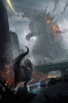 Godzilla vs. Jurassic World Dinosaurs Fan Art (this is a pretty cool mash-up)