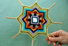 """I came across this great art project on Etsy for weaving your own Ojo de Dios. These stunning, brightly colored """"Eyes of God"""" are made from simple sticks and colored yarn. All photos an…"""