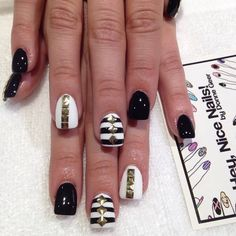 black, white & gold mani with stripes + studs