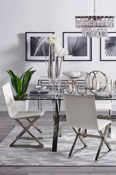 Bring glamour to your dining room with our chic and modern Axis Collection. Dining Room Table Decor, Elegant Dining Room, Dining Room Walls, Dining Room Sets, Dining Room Design, Dining Room Furniture, Living Room Decor, Dining Room Inspiration, Decoration