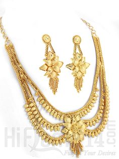 Wedding Necklace Jewelry Set with Floral Design