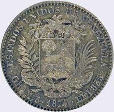 Pieza mv20cv-aa01 (Reverso). Moneda de Venezuela. 20 Centavos. Diseño A, Tipo A. Fecha 1874