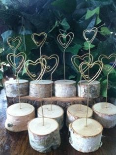 Wood, wire heart place card holders