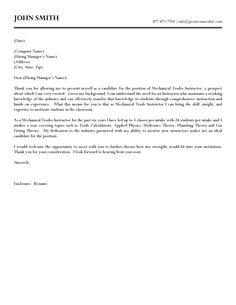 Mechanical Trades Instructor Cover Letter Sample