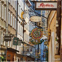 Old guild signs in the Getreidegasse, Salzburg