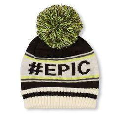 Boys Boys '#Epic' Striped Pom Pom Beanie - Black - The Children's Place