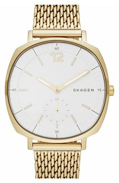 Free shipping and returns on Skagen 'Rungsted' Bracelet Watch, 34mm at Nordstrom.com. A 60-second subdial and glowing stick indexes mark the dial of a squared-off round watch set on a fine mesh strap.