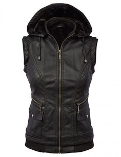 Faux Leather Fleece Zip Up Vest Jacket with Removable Hoodie