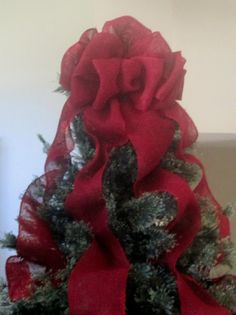Red Burlap Christmas Tree Topper Bow with Streamers, Burlap Decorations, Tree Bow, Red Tree Decorations, Rustic Christmas, Country Christmas by shannonkristina. Explore more products on http://shannonkristina.etsy.com