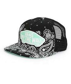 a01584856b6 Vans Beach Girl Black Bandana Trucker Hat Flat Bill Hats