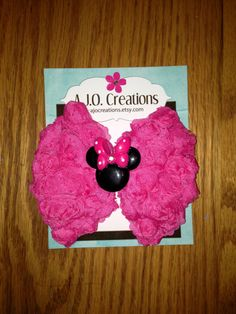 Minnie Mouse Shabby Chic Chiffon Rose Rosette Bow by AJOCreations, $4.75