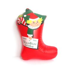 Vintage Inflatable Pixie Elf Christmas Stocking  Holiday by ismoyo, $12.75