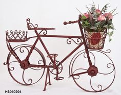 REDUCED Vintage Wrought Iron And Wicker Bi Cycle Bike Planter Flowers Patio Deck  | Bike Planter