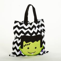 Lolly Wolly Doodle — Black Chevron Frankenstein Halloween Treat Bag