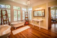 New Tideland Haven master bath. Not saved for decor or fixtures. In fact, this is a ridiculous waste of space.