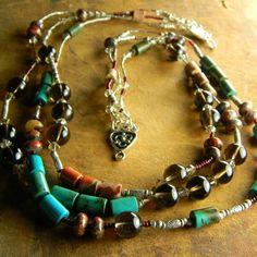 Hill Tribe Silver Necklace Turquoise Smokey Quartz Jasper OOAK   ChrysalisJewelry - Jewelry on ArtFire