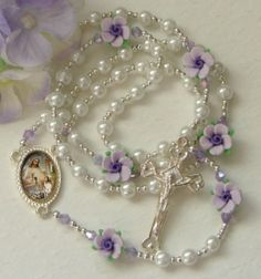 Lavender Rose Communion Girls Rosary by GucciMom3
