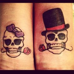 Awesome Matching Wrist Tattoo His And Her Scull Design #inked