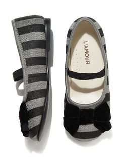Striped Canvas Bow Flats