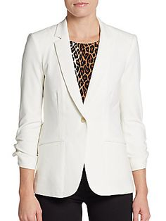 Elizabeth and James - Barnes Blazer White Tux Jacket, James Barnes, Leopard Top, Elizabeth And James, Black Blazers, Discount Designer, Black Pants, One Piece, My Style