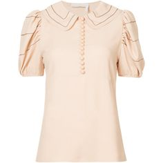 Chloé peter pan collar blouse ($1,295) ❤ liked on Polyvore featuring tops, blouses, short sleeve peter pan blouse, peter pan top, short-sleeve blouse, peter pan collar top and pink blouse