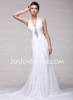 Wedding Dresses - $168.99 - A-Line/Princess Halter Chapel Train Charmeuse Wedding Dresses With Ruffle Beadwork (002016107) http://jenjenhouse.com/A-line-Princess-Halter-Chapel-Train-Charmeuse-Wedding-Dresses-With-Ruffle-Beadwork-002016107-g16107