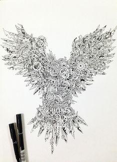 Steampunk Zentangle Owl (Illustration By Doodle Artist Kerby Rosanes) Doodle Art, Owl Doodle, Steampunk Kunst, Steampunk Drawing, Et Tattoo, Owl Illustration, Steampunk Illustration, Zentangle Patterns, Zentangles
