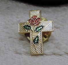 Rose in Cross Lapel Pin (the rose of Sharon) - Gold Tone