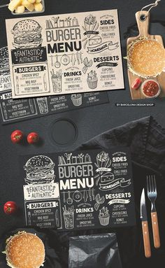 Creative fast-food menu template for your restaurant business with graphic food illustrations - burgers, fries, desserts, drinks. Food Menu Template, Restaurant Menu Template, Restaurant Menu Design, Restaurant Recipes, Restaurant Identity, Restaurant Restaurant, Burger Menu, Burger Recipes, Burger Food