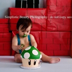 Super Mario Bros. Cake smash!!!  First birthday. | Simplistic Beauty Photography