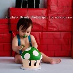 Super Mario Bros. Cake smash!!!  First birthday. | Simplistic Beauty Photography