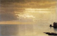 Un mar en calma , Mentone de William Stanley Haseltine (1835-1900, United States)