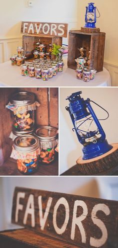 Fun Camping Themed Baby Shower favors- trail mix in mason jars.