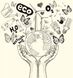Green world concept. Tree on the earth in hands . Ecology doodles icons vector s.