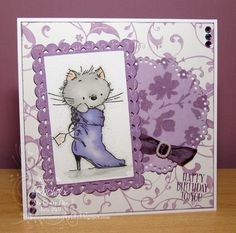 My Crafty Life: Puss in Purple Boots...  Handmade card,  Lili of the Valley,  LOTV
