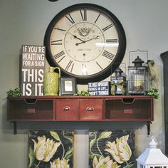 Rodworks - Red 4 Drawer Shelf, shelf, wall shelf, home decor, shelf with drawers, red shelf, large clock, shelf decorating
