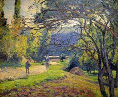 """""""Paisaje boscoso en Pontoise"""" (1875). CAMILLE PISARRO (1832 - 1903). Los pintores IMPRESIONISTAS, renuncian a tomar apuntes del natural y aplican directamente la pintura sobre el lienzo. Por otro lado, la invención de pintura en tubos  y los avances químicos que pusieron en el mercado nuevos colores, como: el malva, el rojo de alizarina, el verde viridiana, el violeta, contribuyeron a que el pintor pudiera pintar no sólo al aire libre sino también de manera nueva."""
