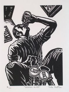 Drinking Alone linocut John Duffin Illustrator, Alone Art, Bar Art, Scratchboard, Comic Pictures, Human Condition, Beauty Art, Gravure, Printmaking