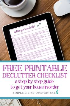 FREE printable declutter your home checklist that will walk you through how to clean up your home one and for all. Use this Declutter PDF to remove the clutter in your home and organize easier. Declutter Your Home, Organizing Your Home, Organizing Tips, Organization Lists, Bathroom Organization, Cleaning Kit, Cleaning Routines, Clothes Basket, Clutter Free Home