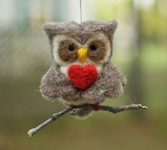 Needle Felted Owl Ornament  Valentine Heart by scratchcraft, $19.00