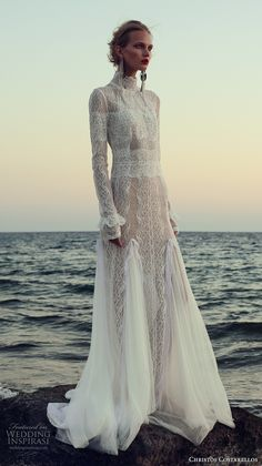 christos costarellos fall 2017 bridal long sleeves high neck full embellishment lace embroidered elegant lace modified a line wedding dress sweep train (19) mv #bridal #wedding #weddingdress #weddinggown #bridalgown #dreamgown #dreamdress #engaged #inspiration #bridalinspiration #weddinginspiration #weddingdresses