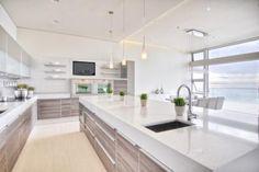 White Modern Kitchen With Ocean View