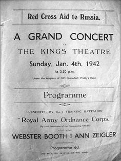 Kings Theatre, Portsmouth 1942. Anne Ziegler spelt incorrectly!