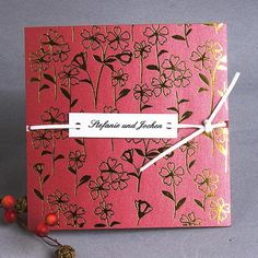 Red square floral with 'tie the knot' #wedding invitations & wedding stationery ... Wedding ideas for brides, grooms, parents & planners ... https://itunes.apple.com/us/app/the-gold-wedding-planner/id498112599?ls=1=8 … plus how to organise an entire wedding ♥ The Gold Wedding Planner iPhone App ♥
