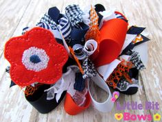 Orange Navy and White Flower Feltie Boutique by LittleBitBows