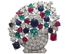 4.61 ct Diamond and 4.68 ct Ruby, Sapphire and Emerald Platinum Brooch - Vintage Circa 1940