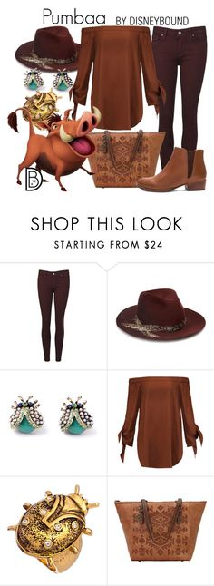 """""""Pumbaa"""" by leslieakay ❤ liked on Polyvore featuring Paige Denim, Eugenia Kim, TIBI, Ruby Kats, American West, Seychelles, disney, disneybound and disneycharacter"""