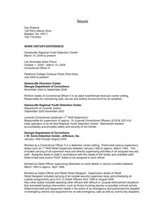 juvenile detention officer resume example httpwwwresumecareerinfo - Resume Profiles Examples