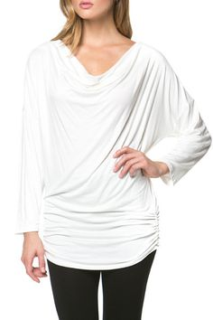 Scoop Cowl Neck Ruched Shirring Jersey Tunic Stretch Top