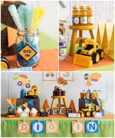 La temática de este cumpleaños fue pensada para un niño amante de los camiones, la maquinaria y la construcción – Los colores elegidos fueron el verde, el azul y el naranja, sobre una base blanca – Figuras de camiones y maquinaria de construcción aportan la temática a la decoración. – Los globos al rededor de …